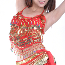 BellyLady Tribal Belly Dance Halter Bra Top With Paillette, Belly Dance Costume