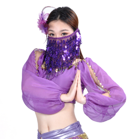 BellyLady Belly Dance Face Veil With Beads, Style B