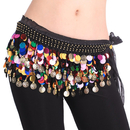 BellyLady Belly Dance Hip Scarf With Paillettes, Gold Coins Belly Dance skirt