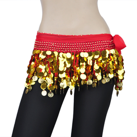 BellyLady Belly Dance Hip Scarf With Paillettes, Gold Coins Lively Style