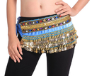 BellyLady Belly Dancing Velvet Hip Scarf with Colorful Gems, Belly Dance Skirt