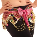 BellyLady Belly Dance Hip Scarf with Bow, Deluxe V-Shape Belly Dance Skirt
