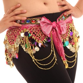 BellyLady Belly Dance Hip Scarf with Bow, Zumba Skirt, Halloween Costume