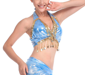 BellyLady Belly Dance Gold Coin Halter Wrap-around Bra-Top