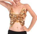 BellyLady Tribal Belly Dance Halter Sequin Bra With Pad, Bandage Butterfly Bra