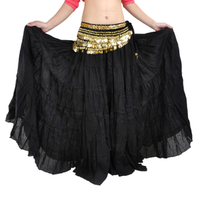 BellyLady Belly Dance Vogue Bohemia Skirt, Tiered Maxi Skirt (Lots of Colors)