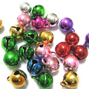 Aspire Multi-color Small Bells, Beaded Charms for Holiday Decoration, 14mm, 100pcs
