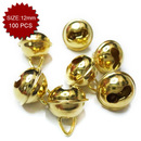 Aspire Gold Bells with Triangle Loop for Home Decoration, 12mm, 100pcs