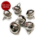 Aspire Silver Crafted Bells with Triangle Loop, 14mm, 100pcs