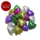 Aspire Frosted Multi-color Sweet Heart Bells for Key Chain, 15*16.5mm, 100pcs