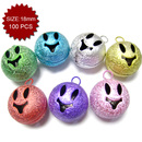 Aspire Frosted Multi-color Ghost Face Jingle Bells, 18mm, 100pcs