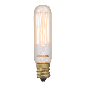 Bulbrite NOS25T6/SQ/E12 25-Watt Nostalgic Incandescent Edison T6 Tube, Vintage Thread Filament, Candelabra Base, Antique