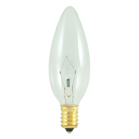 Bulbrite 25CTC/E14 25-Watt Incandescent Torpedo B10 Chandelier Bulb , European Base, Clear