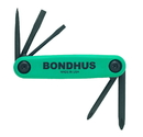 Bondhus Set 5 Utility GorillaGrip Fold-up Tools PH#1, #2, SL1/8, 3/16, Awl