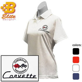 Belite Designs C1 Corvette Embroidered Ladies Performance Polo Shirt Black- Small -BDC1EPL111