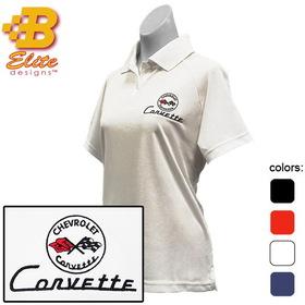 Belite Designs C1 Corvette Embroidered Ladies Performance Polo Shirt Black- X Large -BDC1EPL111