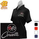 Belite Designs C2 Corvette Embroidered Ladies Performance Polo Shirt Ceramic Blue- Small -BDC2EPL112