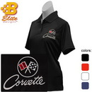 Belite Designs Belite Designs C2 Corvette Embroidered Ladies Performance Polo Shirt Classic Red- Small -BDC2EPL112