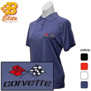 Belite Designs C3 Corvette Embroidered Ladies Performance Polo Shirt Classic Red- Large -BDC3EPL113