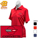 Belite Designs Belite Designs C4 Corvette Embroidered Ladies Performance Polo Shirt White- X Large -BDC4EPL110