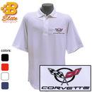 Belite Designs Belite Designs C5 Corvette Embroidered Men's Performance Polo Shirt Classic Red- Small -BDC5EP107