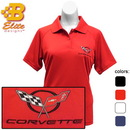 Belite Designs C5 Corvette Embroidered Ladies Performance Polo Shirt Ceramic Blue- Large -BDC5EPL108