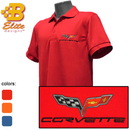 Belite Designs Belite Designs C6 Corvette Embroidered Fairfax Men's Performance Polo Shirt Orange- Small -MQK00010