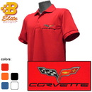 Belite Designs C6 Corvette Embroidered Fairfax Men's Performance Polo Shirt White- Large -BDC6EP153