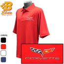 Belite Designs C6 Corvette Embroidered Men's Performance Polo Shirt White- X Large -BDC6EP910