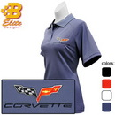 Belite Designs C6 Corvette Embroidered Ladies Performance Polo Shirt Black- XX Large -BDC6EPL106