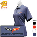 Belite Designs Belite Designs C6 Corvette Embroidered Ladies Performance Polo Shirt Classic Red- Large -BDC6EPL106