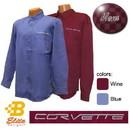 Belite Designs Belite Designs C6 Corvette Script Men's Long Sleeve Corvette Dress Shirt French Blue- Medium -BDC6ES912