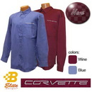 Belite Designs Belite Designs C6 Corvette Script Men's Long Sleeve Corvette Dress Shirt Wine- Small -BDC6ES912
