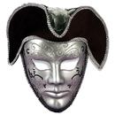 Forum Novelties 125432 Venetian Mask Silver W/Headpiece
