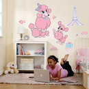 Party Destination Pink Poodle in Paris Giant Wall Decals