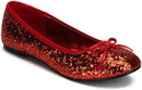 Pleaser Shoes STAR-16G-RED10 Red Glitter Star Flat Adult Shoes