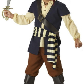 In Character Costumes 170056 Pirate Mate Child Costume - Size: 6 - Color: Blue/Brown