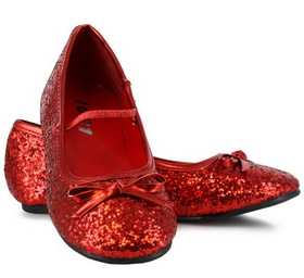 Pleaser Shoes STAR-16GC-red--4/4.5 Sparkle Ballerina (Red) Child Shoes - Size: X-Large (4/4.5) - Color: Red