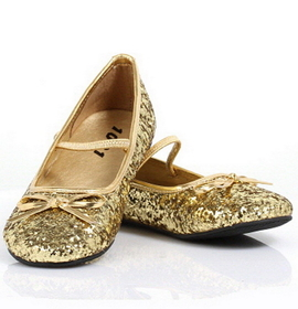 Pleaser Shoes STAR-16GC-Gold-9/10 Sparkle Ballerina (Gold) Child Shoes, Display Size: X-Small (9/10)