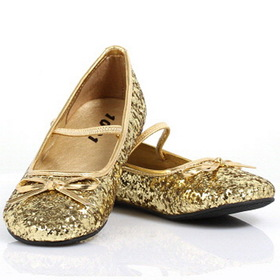 Pleaser Shoes STAR-16GC-Gold-2/3 Sparkle Ballerina (Gold) Child Shoes - Size: Large (2/3) - Color: Gold