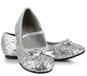 Pleaser Shoes STAR-16GC-silver-9/10 Sparkle Ballerina (Silver) Child Shoes