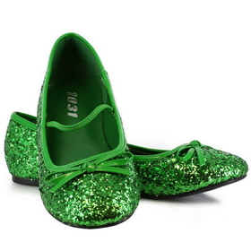 Pleaser Shoes STAR-16GC-GREEN-M Green Sparkle Flat Shoes Child  - Size: Medium (13/1) - Color: Green