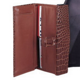 Budd Leather US 38-51 Crocodile Bidente Clutch W/ Checkbook Cognac