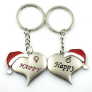 Aspire Christmas Hat Heart Couple Keychain Keyring, Price/One Pair, Wholesale