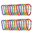 GOGO 24 PCS Aluminum Locking D-shaped Carabiners in Assorted Colors, Gift Idea