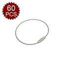 GOGO 60PCS Key Ring Holder Wire, 15cm Long Stainless Steel Loops