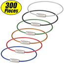 GOGO 300PCS Colorful Steel Cable Keyring, 6 Inch Durable Wire Keychains Wholesale