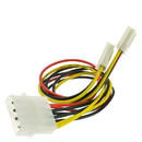 CableWholesale 11W3-02210 4 Pin Molex to Floppy Power Y Cable, 5.25 inch Male to Dual 3.5 inch Female, 8 inch