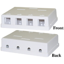 CableWholesale 300-3144E Blank Surface Mount Box for Keystones, 4 Hole, White