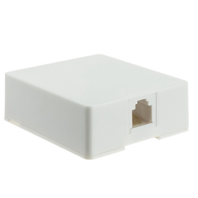 CableWholesale 300-66FF-WH Phone Surface Mount Jack, White, RJ11 / RJ12, Data / Voice, 6P6C (6 Pin 6 Conductor)